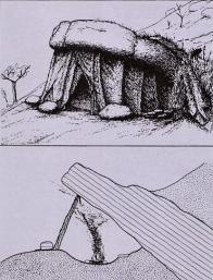 Rekonstrukce obydlí pravěkého člověka na Písečném vrchu.