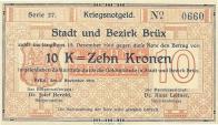 Nouzové peníze vydávané Němci v tzv. provincii Deutschböhmen pro okresy Most a Teplice. Byla zde patrná snaha vymezit se finančně od vzniklého Československa, ve kterém nová měna ještě teprve vznikala a platilo se stále Rakousko - uherskými korunami a haléři