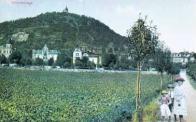 Fotografie z přelomu 19. a 20. století směrem k Zámeckému vrchu, pod nímž vznikala vilová čtvrť