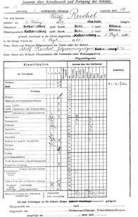 Vybraný osobní list žáka I. třídy Obecně školy v Hoře Svaté Kateřiny, školní rok 1935/1936