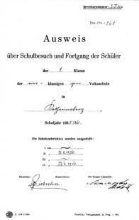 Úvodní list výkazu I. třídy Obecné školy v Hoře Svaté Kateřiny (německé), školní rok 1935/1936