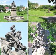 Sousoší v době, kdy stálo v Litvínově ve Voightových sadech