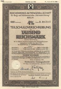 Akcie Teichswerke Aktiengesellschaft für Berg und Hüttebetrieb Hermann Göring