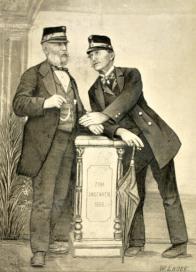 Na přiložené ilustraci z pozůstalosti Bernharda Marra jsou zachyceni dva členové předsednictva duchcovského II. Veteránského spolku v dobových vojenských čapkách, Joseph Schlosser (vlevo) a Adolf Reichling