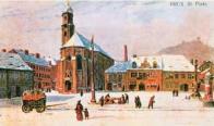 Zasněžené třetí náměstí, kterému dominoval piaristický kostel. V pozadí vpravo Zámecký vrch s hradem Hněvín