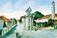 Kresba zachycuje starou zástavbu s kaplí sv. Vavřince a bývalým hřbitovem z první poloviny 19.století