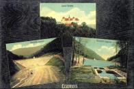Okénková pohlednice.Dvakrát přehrada, jednou zámek Jezeří.
