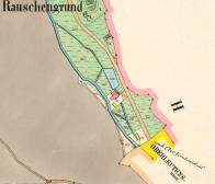 Na posledním plánku z roku 1842 je celá situace. Okolní budovy kolem hlavního mlýna byly ještě všechny dřevěné. Dole žlutě značena katastrální hranice Litvínova.