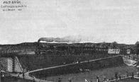 Kresba příjezdu prvního parního vlaku do Mostu 8. října 1870