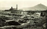 Důl Johan-Jan cca 1930. Do hornické stávky vstoupilo 14. dubna 1919 také osazenstvo šachty Jan (Johann).  Oblastní muzeum v Mostě.