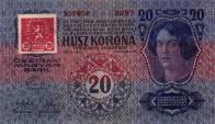 Dvacetikoruna.Rakousko-uherské bankovky byly během měnové odluky opatřovány kolky v hodnotě jednoho procenta jejich nominální hodnoty. Na stokorunové bankovce byl korunový kolek o rozměru 30 x 20 mm. V kruhu v horní části kolku byly vyobrazeny znaky zemí československé republiky: český lev, nalevo moravská orlice, napravo slezská orlice, nad lvem slovenský znak. Dvacetihaléřový kolek měl rozměr 26 x 26 mm, červenou barvu, uprostřed štítku nacházejícího se v horních dvou třetinách kolku byl český zemský lev.