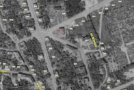 """DMD na mapě z r.1953 pro ne-pamětníky. Jen podotknu, že nestál ještě most přemosťující """"Mezibořské údolíčko"""", kvůli kterému údajně musela být budova zbourána, dodnes prázdné místo most nijak neomezuje..."""
