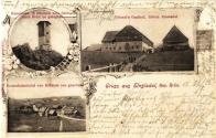 Pohlednice z období okolo roku 1900 (prošlá poštou dne 21.8.1902), jejímž hlavním námětem je Grieselův hostinec na české straně Mníšku. V oválném výřezu vidíme tehdejší hlavní atrakci Mníšku a okolí-rozhlednu Jeřabina v její původní podobě, výhled je odtud i v dnešní době nádherný. Od výše zmíněného hostince bychom tam došli za 25 minut. Vlevo dole je záběr na Německý Mníšek, domy v popředí ale jsou ještě v Čechách. Zde byla i původní celnice