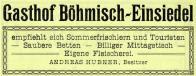 Reklamní leták z r.1924.