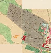Klášter s hospitalem a zahradou rok 1820