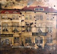 Střelecký terč s vyobrazením hotelu Krone
