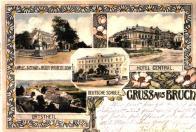 Hotel Central. Německá škola, část obce, kaple u hostince Bräu Gesellschaft (Mosteckého pivovaru)