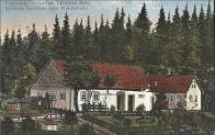 Launitze nächts Der Talsperre Brüx Köhlers Gasthaus zum Waldesheim.  Lounická Kohlerova hospoda 1920
