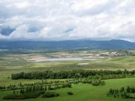 Atypický snímek jezera, směrem ke Krušným Horám