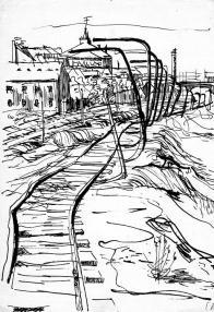 """Své výtvarné nadání začal cílevědomě rozvíjet na realistických kresbách Mostecké průmyslové krajiny ), ale ve své době i na poměrně """"odvážných"""" abstraktních kompozicích"""