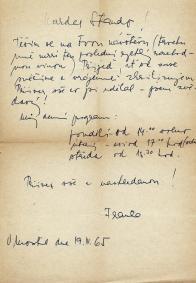 Jeden z několika dopisů Františka Řeháka autorovi tohoto článku