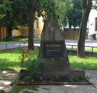 Pomníček Rudé armádě osvoboditelce. Ve špici pomníčku zůstal reliéf po hvězdě která byla součástí pomíku