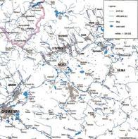 Mapa vodních ploch a toků na Mostecku