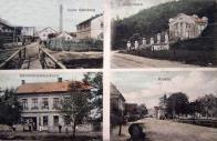 Vlevo nahoře důl Habsburk v Kopistech. Vpravo nahoře vodárna v Šumné. Dole vlevo koloniál v Růžodole. Vpravo kaple tamtéž