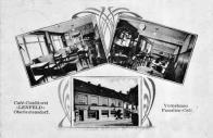 Okénková pohlednice s kavárnou vně i uvnitř. Vornehmes Familen Cafe - Noblesní rodinná kavárna. Kavárna-cukrovinky-Lenfeld-Litvínov