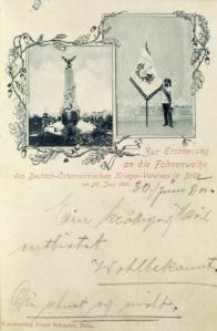 Pomník byl odhalen 17. 9. 1899 Německo-rakouským válečným spolkem. Podle špatně čitelného nápisu na podstavci byl věnován kamarádům mosteckého okresu, kteří padli za vlast. Konkrétní bitvu nebo válku zde nevidím :  Napsal mi pan magistr Myšička z Mosteckého archivu.