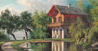 V parku ,u zámku Jezeří stával Švýcarský dům.